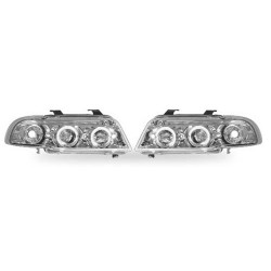Paire de phares Angel Eyes Chrome pour Audi A4 de 1995 à  1999 (4 portes)
