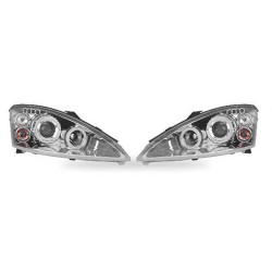 Paire de phares Angel Eyes Chrome pour Ford Focus - Phase II - de 2000 à  2003 (3/5 portes)