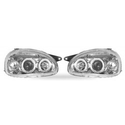 Paire de phares Angel Eyes Chrome pour Opel Cosa B de 1993 à  2000