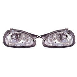 Paire de phares Angel Eyes Chrome pour Opel Corsa B de 1993 à  1999