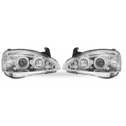 Paire de phares Angel Eyes Chrome pour Opel Corsa C de 2000 à  2004 (3 portes)