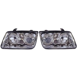 Paire de phares Angel Eyes Chrome pour Volkswagen Bora de 1998 à  2004