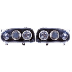 Paire de phares Angel Eyes Chrome pour Volkswagen Golf III de 1992 à 1997