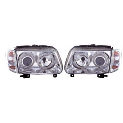 Paire de phares Angel Eyes Chrome pour Volkswagen Polo de 1997 à  2001