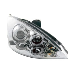 Paire de phares angel eyes face lisse/fond chrome pour Ford Focus 3/5 portes de 2001 à  2004
